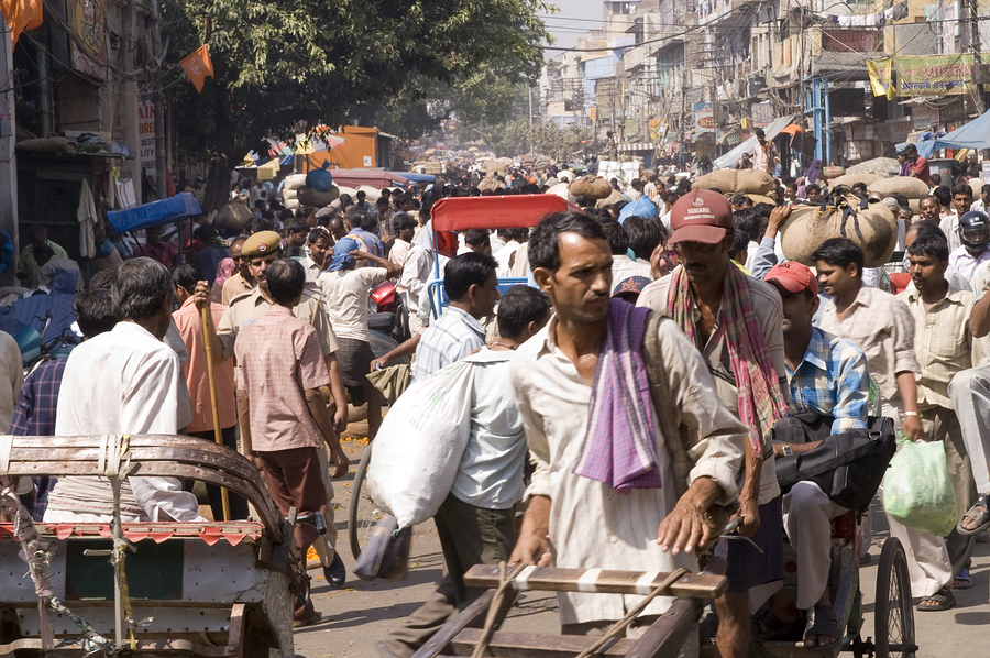 India crowded Indian street