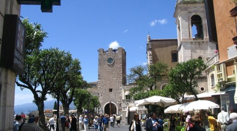 Along the promenade in Taormina...