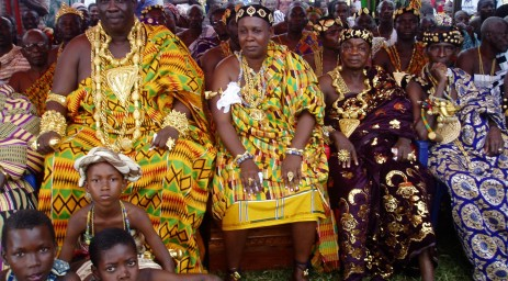 Chiefs in Kente and gold at the Durbar grounds