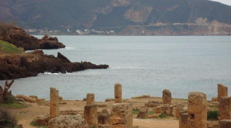Beautiful seaviews are the backdrop of the Roman site of Tipasa.