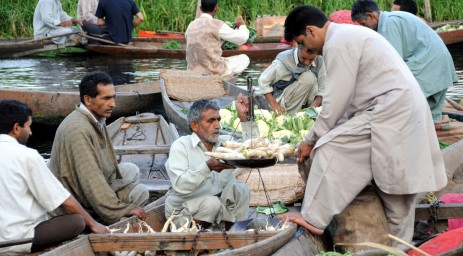 The floating vegetable market in Srinigar