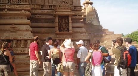 Visiting the carvings at Khajuraho