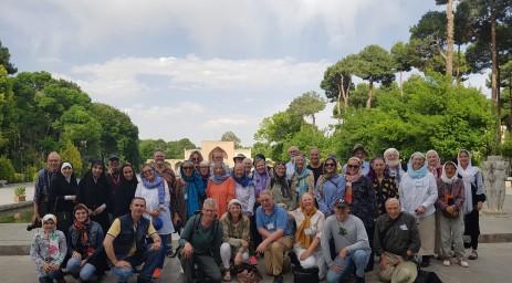 Group photo at Chehel Souton palace in Isfahan, Iran.